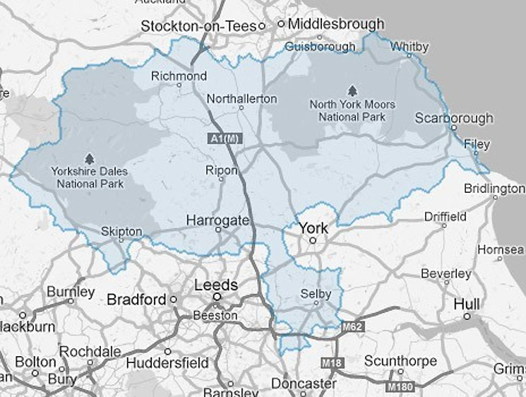 North Yorkshire boundary map